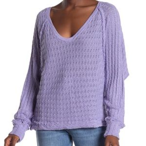 Free People Purple Thien's Hacci Top Knit Sweater